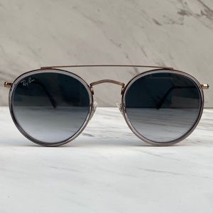 😎 Ray-Ban Round Double Bridge Bronze Copper Grey